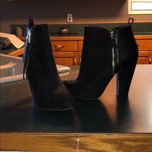Black Suede/ Faux Leather Booties w/ Gold Hardware